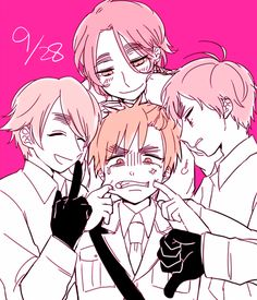 Hetalia UK bros. (once again, somehow Iggy doesn't look to happy with the 'brotherly attention' he's receiving)