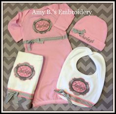 Personalized Infant Gown, Bib, Burp Cloth, and Hat Set.  via Etsy.