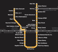 ttc subway map - cheap eats in Toronto! Map Of Yorkshire, What Is Intelligence, Nyc Subway Map, Farm Cafe, Cafe Black, Black Camel, The Last Airbender, Restaurant Bar, Travel Usa