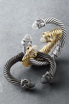 David Yurman ~ Renaissance Bracelets with Black or White Diamonds