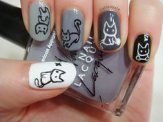Cat Nails. This would be so cute. But only one nail. Like the white one. So adorable!