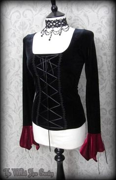 Romantic Gothic Lace Up Black Velvet Corset Top S 8 ROSE MORTEM Vampire Maiden | eBay