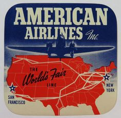 Unused Vintage Luggage Label - American Airlines, The World's Fair Line 1939