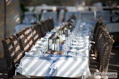 Rustic Blue & White Wedding Reception Decor www. Wedding Reception Decorations, Table Decorations, Blue White Weddings, Rustic Blue, Royal Blue, Blue And White, Events, Luxury, Home Decor