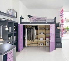 queen size loft bed with closet | Wohnlandschaft mit Bettfunktion – Wie man ein kleines Ambiente ...