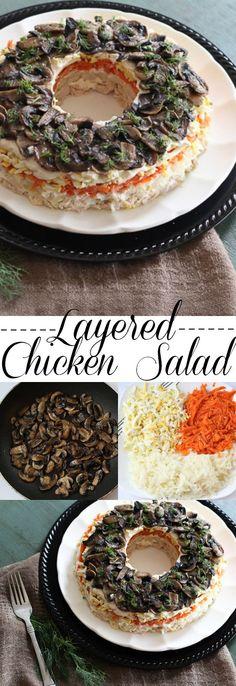 Layered Chicken Salad with Potatoes, Carrots and Mushrooms. ValentinasCorner.com