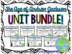 Andrew Jackson UNIT BUNDLE • 12 products including lessons, a review packet, writing assignment, and test! Tariff Of Abominations, Andrew Jackson Presidency, Missouri Compromise, Monroe Doctrine, Middle School History, Teaching Tools, Teaching Ideas, Trail Of Tears, Writing Assignments