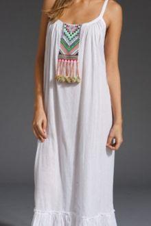 Pocket Design Fringe Spliced White Maxi Dress