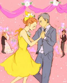 Molly and Greg dancing at John's wedding, plus bonus Johnlock pining in the background. // Art by darlingbenny.