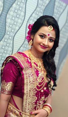 Bengali Bridal Makeup, Bengali Wedding, Bengali Bride, Indian Bridal Wear, Indian Makeup, Wedding Sarees, Asian Bridal Dresses, Party Wear Indian Dresses, Bridal Outfits