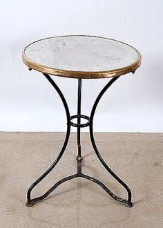 French Antique Marbletop Iron Bistro Table   Master Bed Side Table