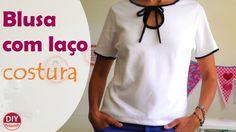 Blusa com laço no decote  (gola laço) - parte 2: COSTURA (DIY Tutorial) ...