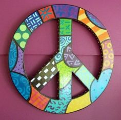 Funky Wood PEACE Sign Cut Out  Handpainted by flyingwomandesigns