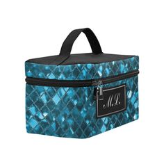 Monogram Sapphire Blue Sparkle Cosmetic Bag/Large (Model 1658)