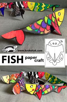Paper Fish Fish Paper Craft, Fish Crafts, Ocean Crafts, Paper Crafts, Paper Toys, Art For Kids, Crafts For Kids, Arts And Crafts, Classroom Crafts