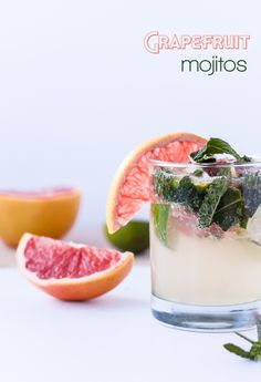 grapefruit mojito 1/2 lime, quartered half moon, thin slice of grapefruit 8-10 mint leaves 1 tablespoon sugar 2 ounces white rum 1 ounce freshly squeezed grapefruit juice 1 teaspoon freshly squeezed lime juice 2 ounces soda water ice cubes