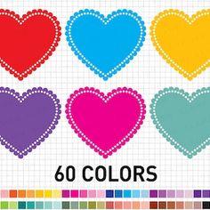 Heart Clipart: Digital Heart Clipart Valentine | Etsy Heart Graphics, Heart Clip Art, Blog Backgrounds, Printable Scrapbook Paper, Heart Template, Heart Frame, Frame Clipart, Scrapbook Designs, Rainbow Heart