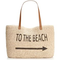 Style & Co. Straw Beach Bag, ($9.99) ❤ liked on Polyvore featuring bags, handbags, tote bags, beach, purses, accessories, totes, straw tote, beach bag and straw beach tote
