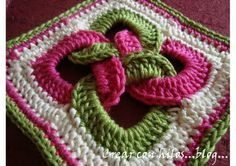 interlocking rings... into a granny square. Really want to try this!