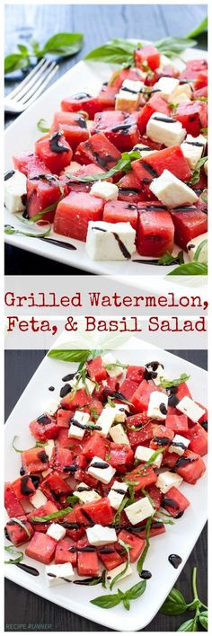 Grilled Watermelon, Feta, and Basil Salad: sweet grilled watermelon, salty feta, and fresh basil taste so good together in this summer salad.