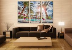 Las Vegas Pool in Summer LARGE Canvas 3 Panels Print City Art Wall Deco Fine Art Photography Repro Print for Home and Office Wall Decoration by ZellartCo TAGS palm trees las vegas nevada cityscape pool bar summer casino holiday blue sky vacation hotel pool canvas art wall art