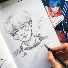 When I saw this badge with Min Yunki. Fanart Kpop, Kpop Drawings, Korean Art, K Pop, Drawing Reference, Art Tutorials, Drawing Sketches, Art Inspo, Amazing Art
