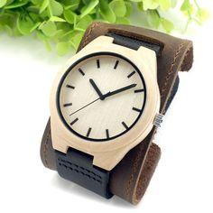 BOBO BIRD Round Vintage Men's Watches Bamboo Maple Top Luxury Brand Genuine Leather Wristwatches Dress Watches For Men