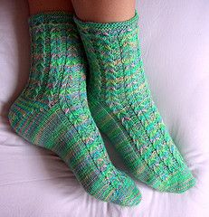 Ravelry: Ambrosia Socks pattern by Ann Budd free I would redesign the cuff with a more substantial ribbing treatment. Loom Knitting, Knitting Socks, Knitting Patterns Free, Free Knitting, Knit Socks, Free Pattern, Easy Crochet Socks, Knit Or Crochet, Patterned Socks
