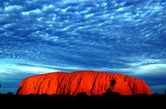 The colour of Uluru at Sunset, Alice Springs, Australia, Ayres Rock, beautiful, blue, cloud, colour, evening, orange, Outback, red, rock, scenic, sky, sunlight, tourism, Wonder of the World!!