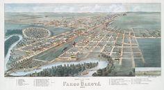 Fowler, T. M. (Thaddeus Mortimer), 1842-1922 -- Artist  Bird's eye view of Fargo Dakota 1880. Lithographs -- Hand-colored. Digital ID: 55103