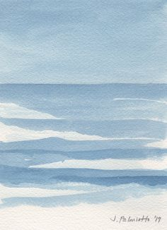 """""""Waves in Prussian Blue"""" by Jennifer Palmiotto Watercolor Print, Watercolor Paintings, Watercolors, Beach Sketches, Sea Illustration, Sea Art, Alcohol Ink Art, Life Drawing, Art Lessons"""