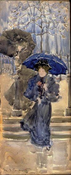 Maurice Pendergast ~ Dames sous la pluie, aquarelle, vers 1894