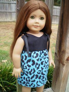 "American Girl Doll Dress, Blue & Black Animal print 18"" Doll Dress, American Girl Doll Clothes, Ready to Ship, Handmade Doll Clothes - pinned by pin4etsy.com"