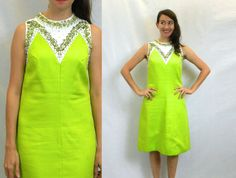 Vintage 60s Mod Lime Green Beaded Party Dress Sleeveless Shift Saks Fifth Avenue, Medium