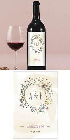 Personalized 'Natural Charm' Wreath Wine Bottle Labels (Set of 8)