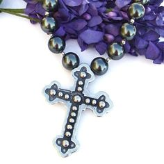 #Mexican Style Pewter #Cross #Necklace with #Swarovski Pearls and Sterling Silver #Handmade by @ShadowDog #ShadowDogDesigns #Jewelry on #ArtFire, $75.00