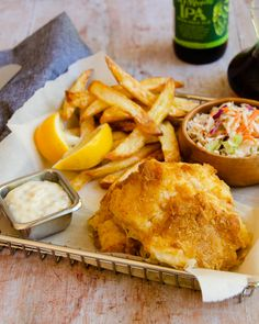 Fish and Chips is an all time favorite British meal. Though it is usually deep-fried, now you can make it with less guilt by air-frying your beer battered cod. So easy and tasty - perfect with some air fried chips and malt vinegar. Chef Recipes, Seafood Recipes, Cooking Recipes, Cooking Tips, Cooking Food, Food Food, Easy Recipes, Fish And Chips, Beer