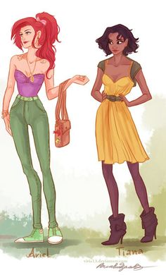So many cool artistic variations of the princesses this is hipster Ariel and Tiana