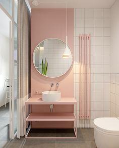 Pastel pink bathrooms, hot pink bathrooms, pink bathroom tiles, pink bathroom sets, pink basins and pink vanities. These pink bathroom ideas have it all & more. Hot Pink Bathrooms, Pink Bathroom Tiles, Pink Bathroom Interior, Pink Bathroom Accessories, Pink Bathrooms Designs, Pink Tiles, Bathroom Sets, Home Interior, Bathroom Furniture
