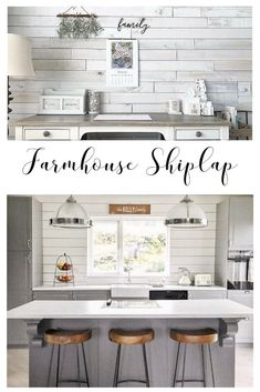 Shiplap is wall treatment of wood slats put together one on top of another. Modern farmhouse 'Fixer Upper' look that Joanna and Chip Gaines has made famous. Come check this post out as consideration for your dining, living room, kitchen, backsplash, bedro Farmhouse Style Kitchen, Modern Farmhouse Kitchens, Home Decor Kitchen, Room Kitchen, Farmhouse Decor, Ship Lap Kitchen, Diy Kitchens, Bar Kitchen, Kitchen Ideas