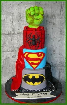 Super Hero Cake  by Mel_SugarandSpiceCakes - http://cakesdecor.com/cakes/211649-super-hero-cake
