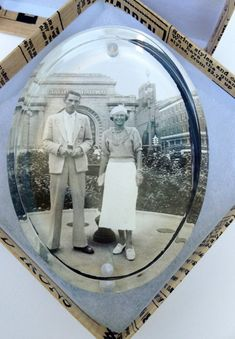 Gift Boxed Antique Photo Paperweight Stylish Couple In Front of Southern Railway Arch Desk Art Handm