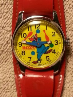 Vintage Bozo the Clown character wrist watch Capitol Records 1970 wind up #Capitol #CartoonIdol