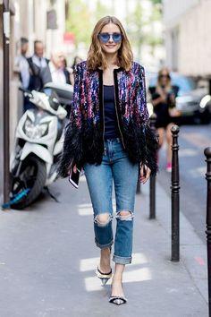 Olivia Palermo wearing ripped denim jeans glitter jacket blue sunglasses navy tshirt heels outside Elie Saab during Paris Fashion Week Haute Couture. Estilo Olivia Palermo, Olivia Palermo Style, Casual Heels Outfit, Casual Outfits, Heels Outfits, Look Street Style, Street Style Women, Denim Outfits, Fashion Outfits