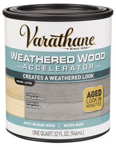 Varathane 313835 Weathered Wood Accelerator Water-Based Wood Stain, Grey, 1 Quart