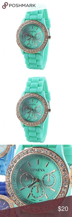 Brand New silicone watch Woman's Fashion Silicone strap Quartz Wrist Watch. Color is mint green with gold details. Brand-New. Unknown Brand on watch. Made in China... Accessories Watches