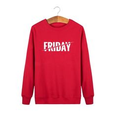 Hoodies For Men Friday Letters Printed Mens Sweatshirts New Fashion Crew Neck Pullover Black Streetwear