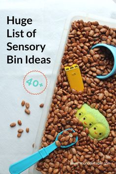 Ultimate List of Sensory Bin Ideas, Incredibly Easy! – Your Kid's Table 40 plus awesome sensory bin ideas that are perfect for home or school. And, get tips to encourage play and benefits of sensory bins from an OT. Sensory Tubs, Sensory Boxes, Sensory Diet, Baby Sensory, Toddler Sensory Bins, Sensory Motor, Autism Sensory, Toddler Play, Toddler Learning
