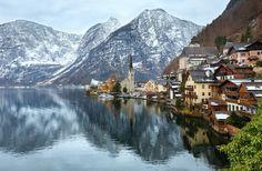 Hallstatt winter view (Austria) by YuriyB on @creativemarket