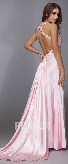 d01e05bca8c Sexy Robe de soirée longue rose col V plissé au bustier pailleté de strass  dos nu